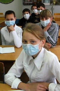 Students in Kazakhstan during the swine flu outbreak in 2009. Image by Nikolay Olkhovoy